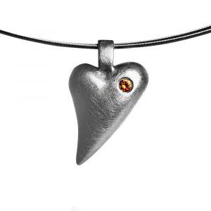 Das kleine KRA | Herz Anhänger geschwungen mit Brillant Silber