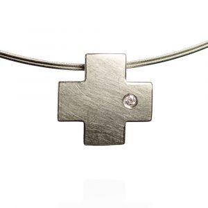Das kleine KRA | Kreuz Anhänger mit Brillant, Silber
