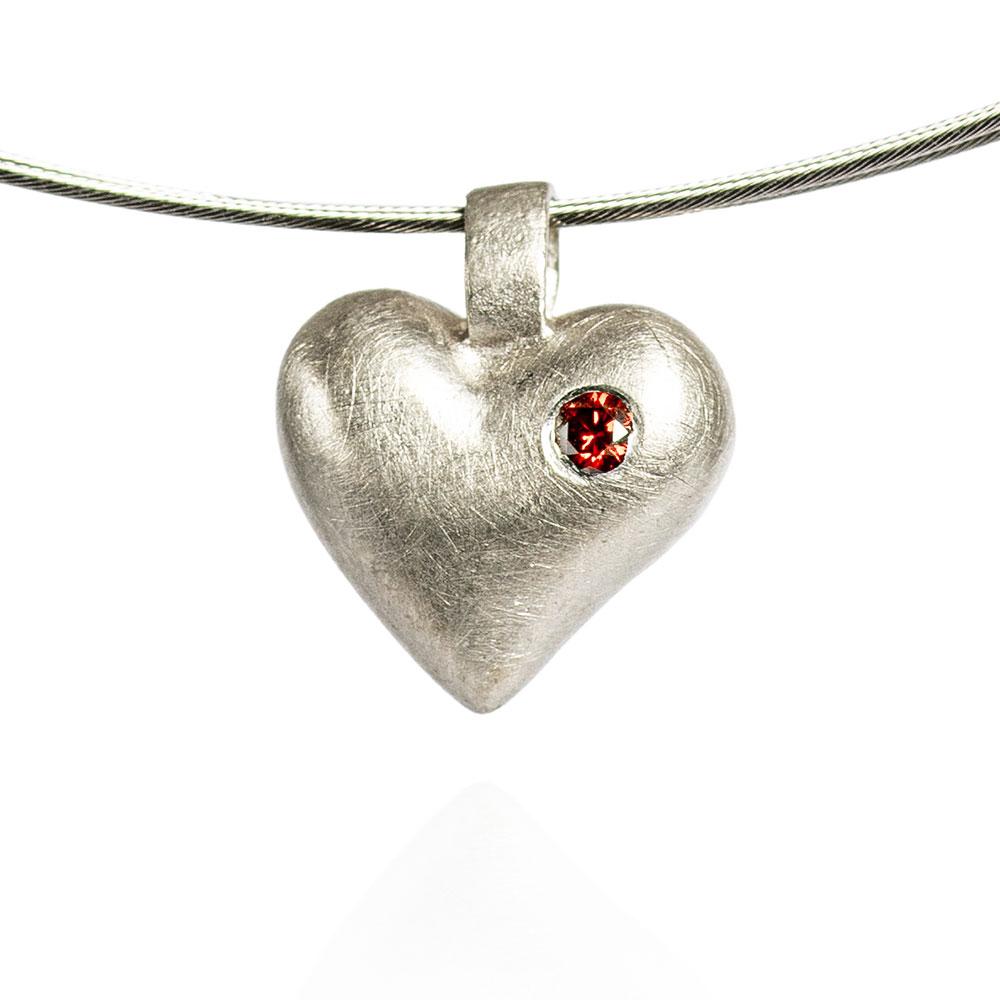Das kleine KRA   Herz-Anhänger Silber mit Brillant
